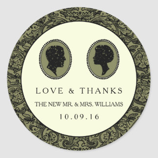 His & Hers Art Deco Silhouette Wedding Collection Classic Round Sticker