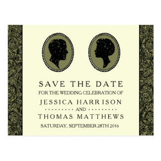 His & Hers Art Deco Silhouette Wedding Collection Postcard