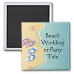 His/Hers Flip Flops on the Beach Fridge Magnet