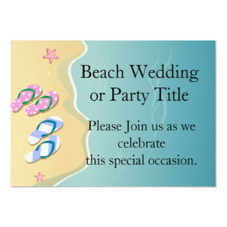 His/Hers Flip Flops on the Beach Custom Announcements