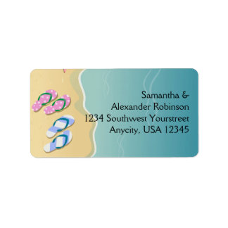 His/Hers Flip Flops on the Beach Personalized Address Labels