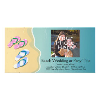 His/Hers Flip Flops on the Beach Wedding Card