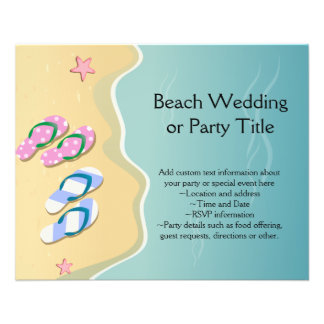 His/Hers Flip Flops on the Beach Wedding Flyer