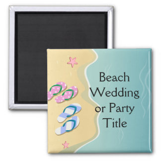 His/Hers Flip Flops on the Beach Wedding Magnet