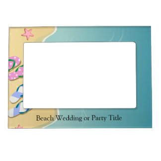 His/Hers Flip Flops on the Beach Wedding Magnetic Photo Frame