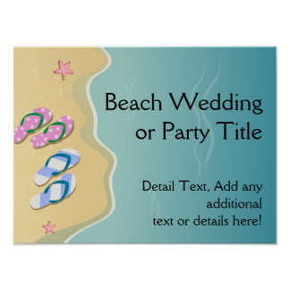 His/Hers Flip Flops on the Beach Wedding Poster