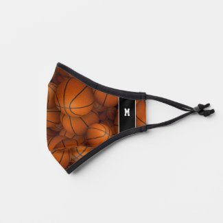 his hers personalized basketballs sports pattern premium face mask