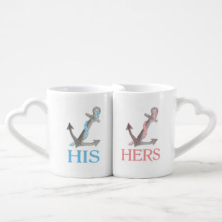 His hers pink blue anchor love mugs couples' coffee mug set