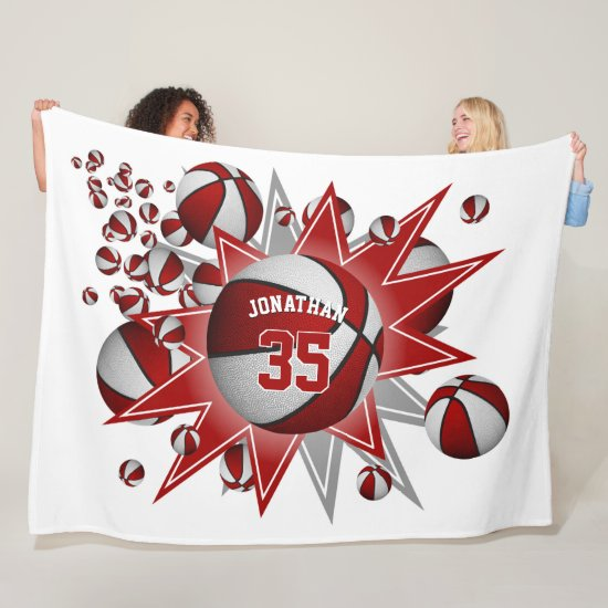 his hers sporty red white basketball blowout fleece blanket