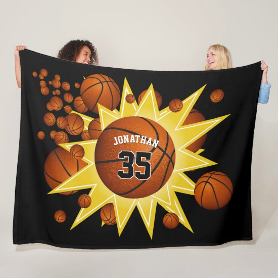 his hers sporty star player basketball blowout fleece blanket