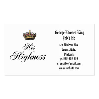 His Highness (part of his and hers set) Double-Sided Standard Business Cards (Pack Of 100)