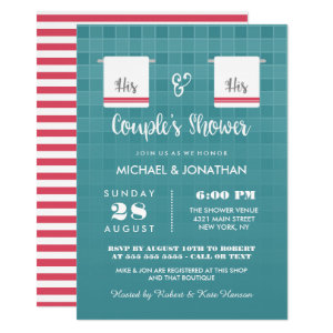 His & His | Blue & Red Gay Couple's Shower Card