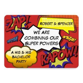 His & His Superhero Parody Bachelor Party Invite