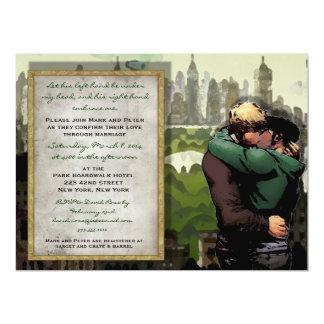 His Kiss - Gay Wedding Invitation