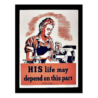 His Life May Depend On This Part Postcard