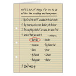 HIS LIST - Thanks Best Man - FUNNY Greeting Card