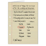 HIS LIST - Thanks Groomsmen - FUNNY Cards
