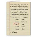 HIS LIST - Thanks ushers - FUNNY Greeting Cards