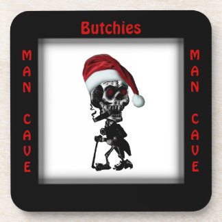 His Man Cave Square Christmas / Holiday Coasters