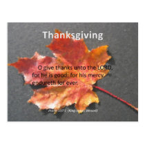 His Mercy Endureth Thanksgiving Psalm 107:1 Postcard