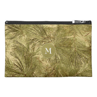 his monogram on vintage look evergreen boughs travel accessory bag