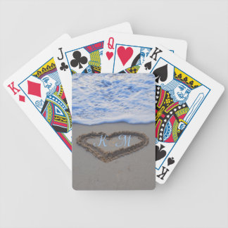 His 'n Hers Beach Heart Initials Playing Cards