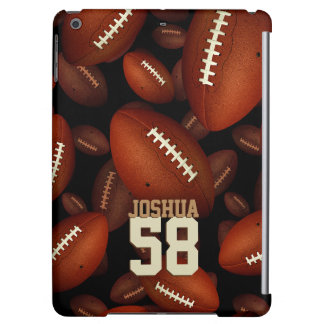 his name and jersey number on footballs pattern case for iPad air