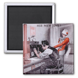 His New Love! 2 Inch Square Magnet