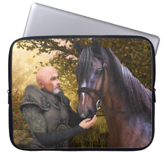 His Noble Steed - A Knight and His Horse Laptop Computer Sleeves