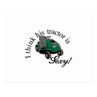 His Tractors Sexy Postcard
