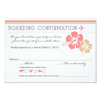 Hisbiscus Flowers Boarding Pass RSVP 3.5x5 Paper Invitation Card