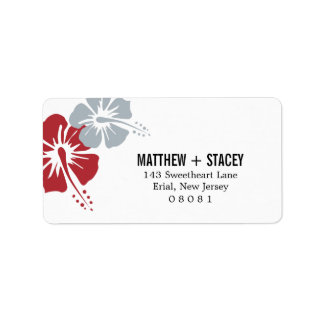 Hisbiscus Flowers Personalized Address Label