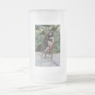 Hispanic Beauty Frosted Glass Beer Mug