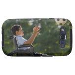 Hispanic boy, 8, in wheelchair with soccer ball galaxy s3 case