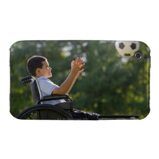 Hispanic boy, 8, in wheelchair with soccer ball iPhone 3 cover