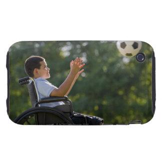 Hispanic boy, 8, in wheelchair with soccer ball iPhone 3 tough case
