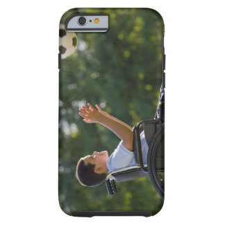 Hispanic boy 8 in wheelchair with soccer ball iPhone 6 case