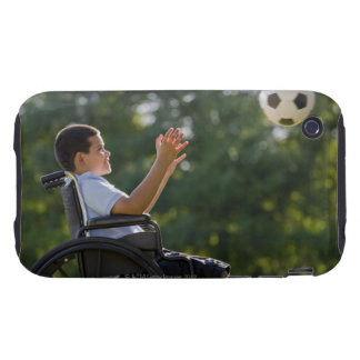 Hispanic boy, 8, in wheelchair with soccer ball tough iPhone 3 covers