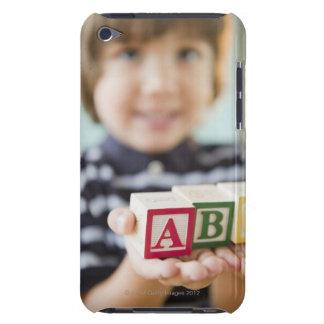 Hispanic boy holding alphabet blocks Case-Mate iPod touch case