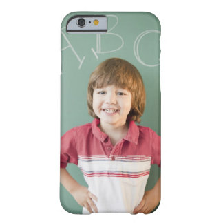 Hispanic boy standing underneath abcs on barely there iPhone 6 case