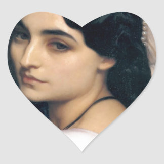 Hispanic lady woman antique painting heart sticker