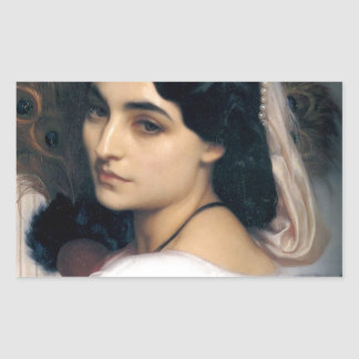 Hispanic lady woman antique painting rectangular sticker
