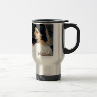 Hispanic lady woman antique painting travel mug