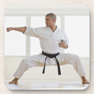 Hispanic male karate black belt in fighting coaster