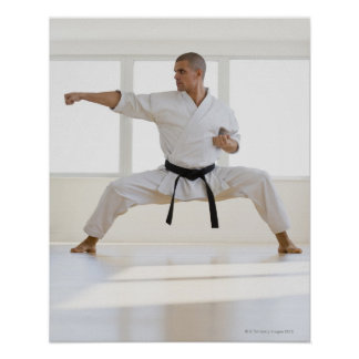 Hispanic male karate black belt in fighting poster