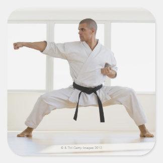 Hispanic male karate black belt in fighting square sticker