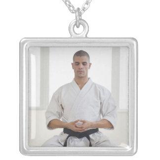 Hispanic male karate black belt meditating custom necklace