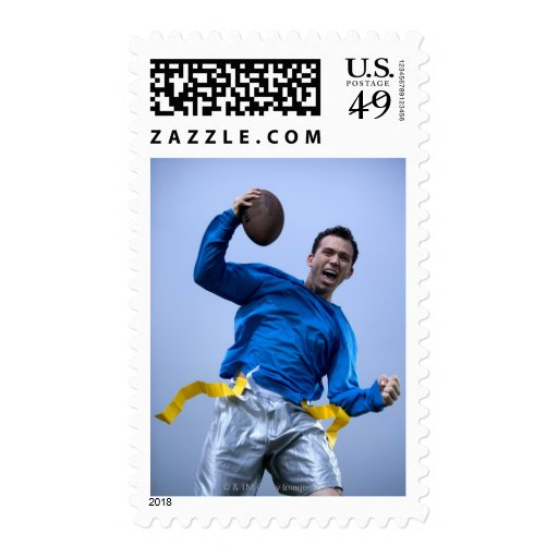 Hispanic man throwing a football postage stamps
