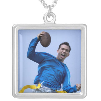 Hispanic man throwing a football square pendant necklace