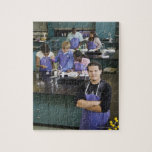 Hispanic student standing in chemistry lab jigsaw puzzle